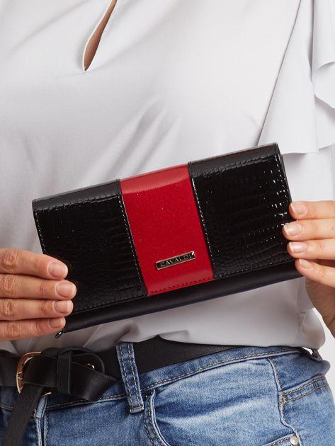 Czarno-czerwony duży portfel lakierowany