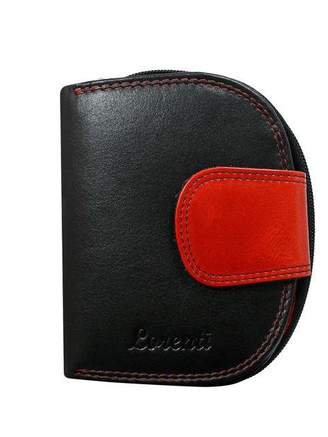 Czarno-czerwony półokrągły portfel damski skórzany