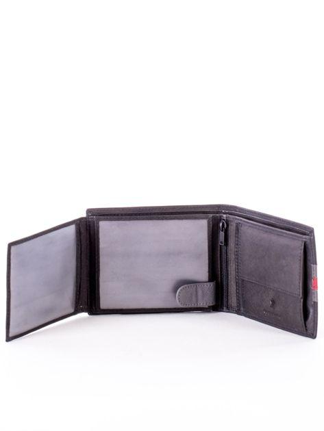 Czarno-czerwony portfel ze skóry naturalnej                               zdj.                              5