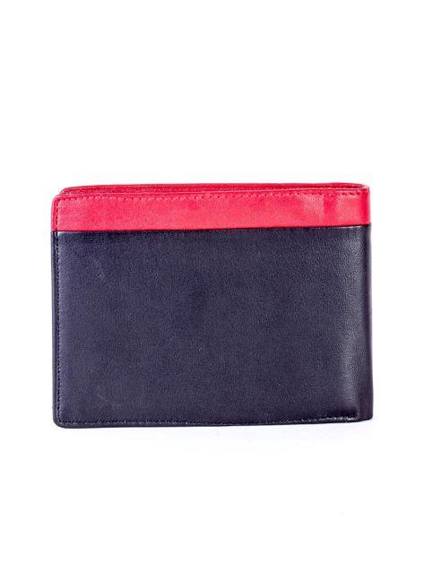 Czarno-czerwony skórzany portfel męski                              zdj.                              2