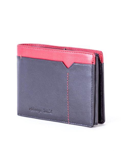 Czarno-czerwony skórzany portfel męski                              zdj.                              3