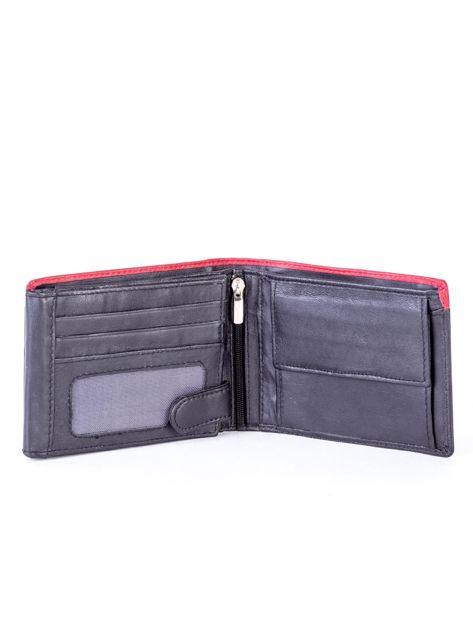 Czarno-czerwony skórzany portfel męski                              zdj.                              4