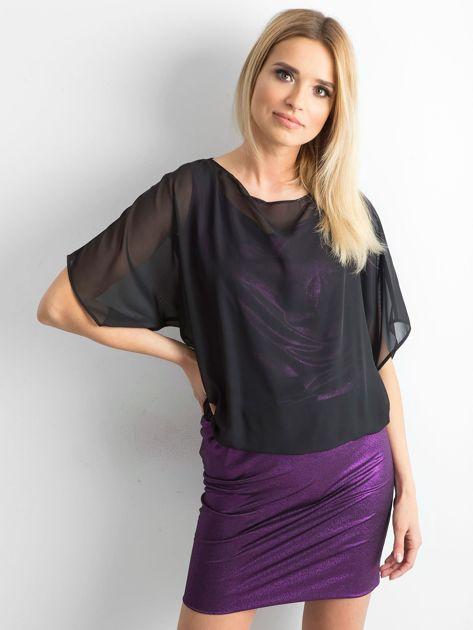 Czarno-fioletowa sukienka damska