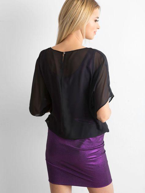 Czarno-fioletowa sukienka damska                              zdj.                              2