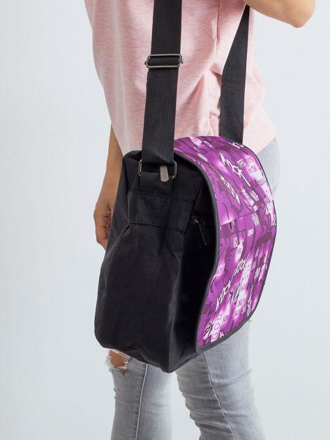 Czarno-fioletowa torba na ramię                              zdj.                              3