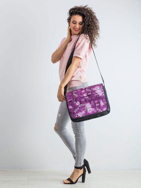 Czarno-fioletowa torba na ramię                              zdj.                              4