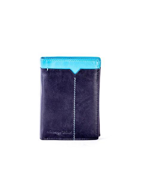 Czarno-niebieski portfel męski ze skóry
