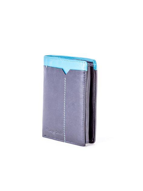 Czarno-niebieski portfel męski ze skóry                              zdj.                              3