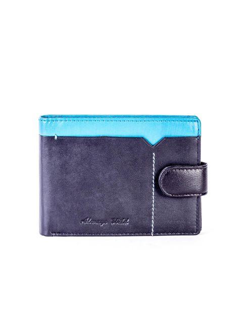 Czarno-niebieski skórzany portfel z przeszyciem i kolorową wstawką                              zdj.                              1