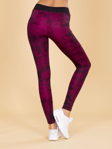 Czarno-różowe legginsy moro                              zdj.                              3