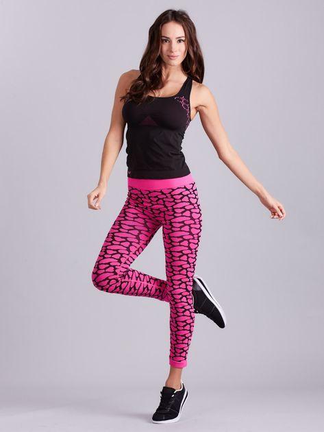 Czarno-różowy komplet fitness top i legginsy                              zdj.                              12
