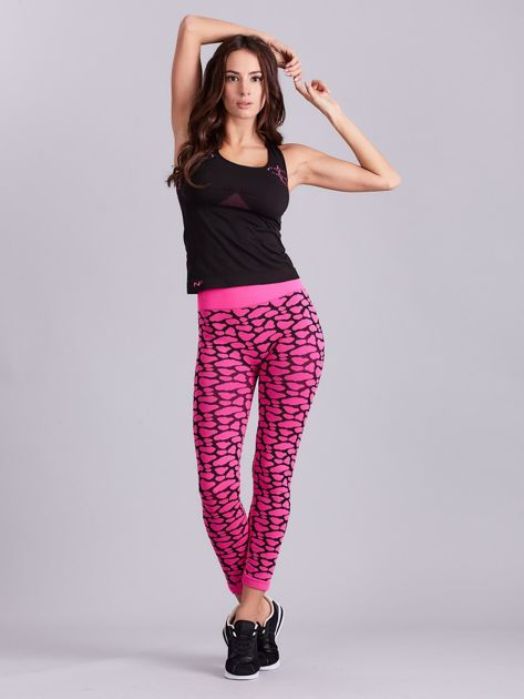 Czarno-różowy komplet fitness top i legginsy                              zdj.                              13