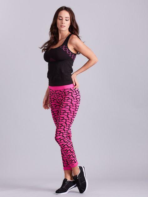 Czarno-różowy komplet fitness top i legginsy                              zdj.                              5