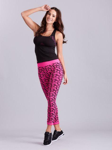 Czarno-różowy komplet fitness top i legginsy                              zdj.                              7