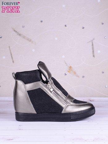 Czarno-srebrne sneakersy Agnes z suwakiem z boku, lakierowanymi wstawkami i materiełem z efektem glitter                               zdj.                              2