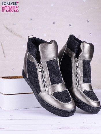 Czarno-srebrne sneakersy Agnes z suwakiem z boku, lakierowanymi wstawkami i materiełem z efektem glitter                               zdj.                              1