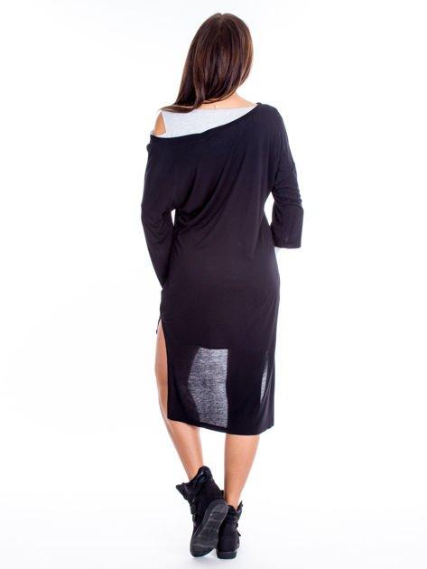 Czarno-szara warstwowa sukienka                              zdj.                              2