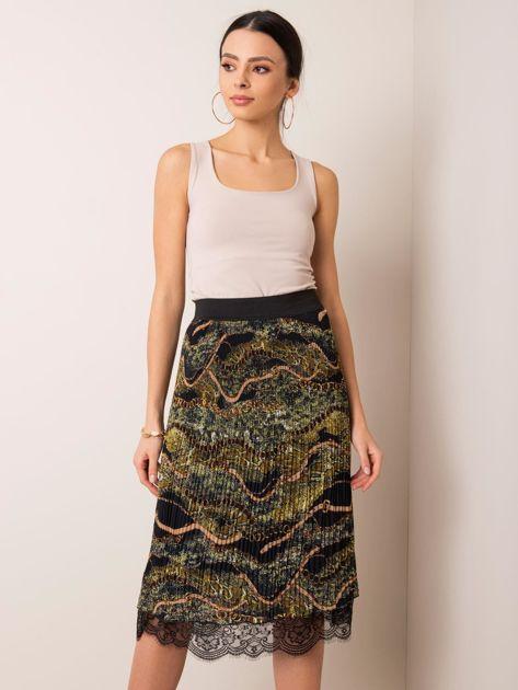 Czarno-zielona spódnica Delila RUE PARIS