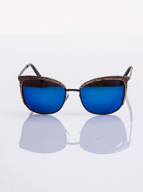 Czarno-złote klasyczne damskie okulary przeciwsłoneczne lustrzanki                                  zdj.                                  5