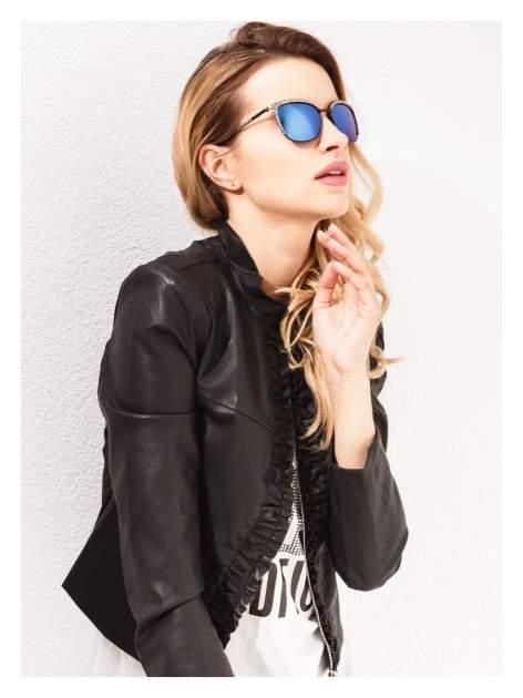 Czarno-złote klasyczne damskie okulary przeciwsłoneczne lustrzanki                                  zdj.                                  3
