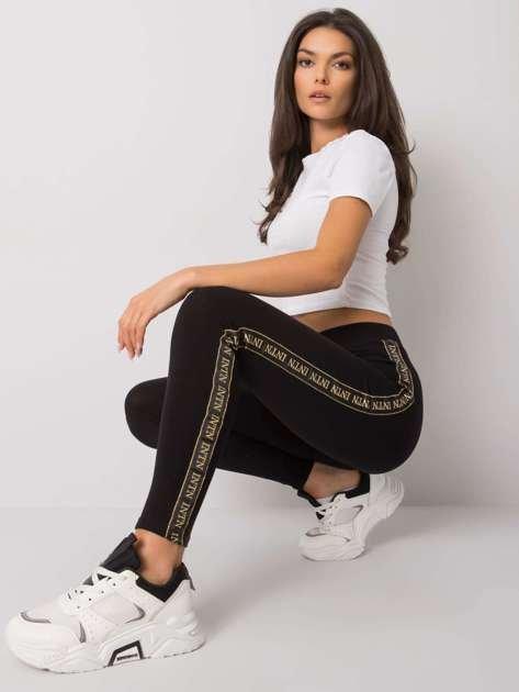 Czarno-złote legginsy z lampasami Akemi RUE PARIS