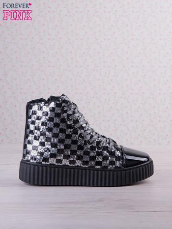 Czarnosrebrne sneakersy Kailey z cekinami w szachownicę                                  zdj.                                  1
