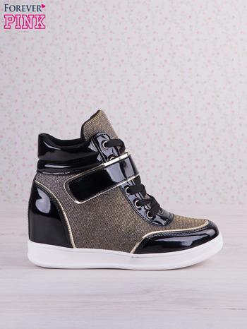 Czarnowozłote mieniące sneakersy z lakierowanymi wstawkami                                   zdj.                                  1
