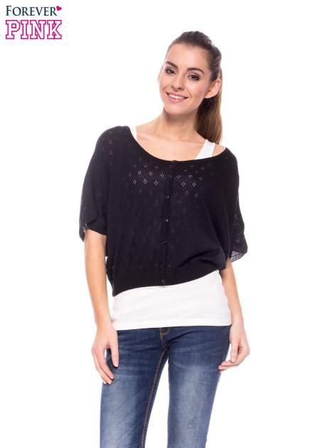 Czarny ażurowy sweterek z krótkim rękawem