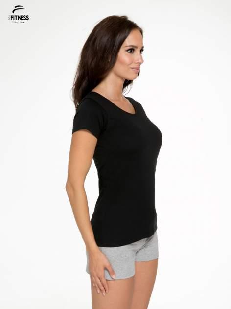 Czarny bawełniany t-shirt damski typu basic                                  zdj.                                  3