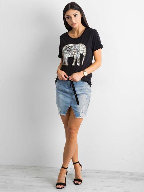 Czarny bawełniany t-shirt z aplikacją                              zdj.                              4