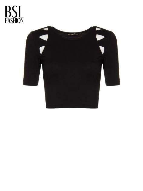 Czarny cropped t-shirt z z ozdobnymi wycięciami                                  zdj.                                  2