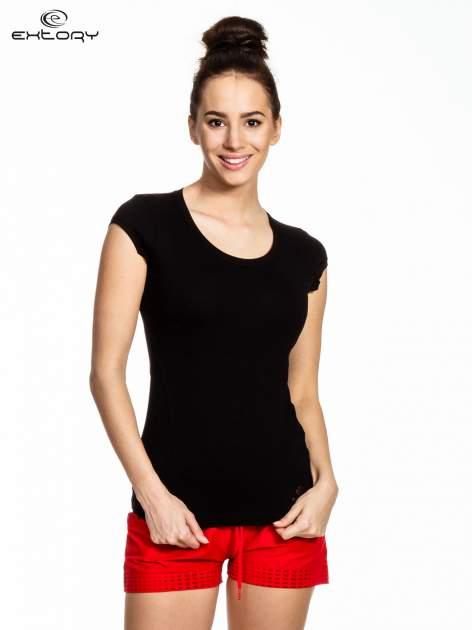 Czarny damski t-shirt sportowy basic                                  zdj.                                  1