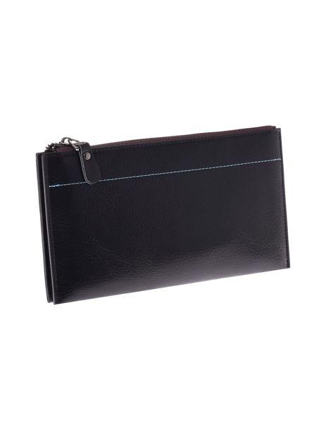 Czarny długi portfel kopertówka na zamek                              zdj.                              6