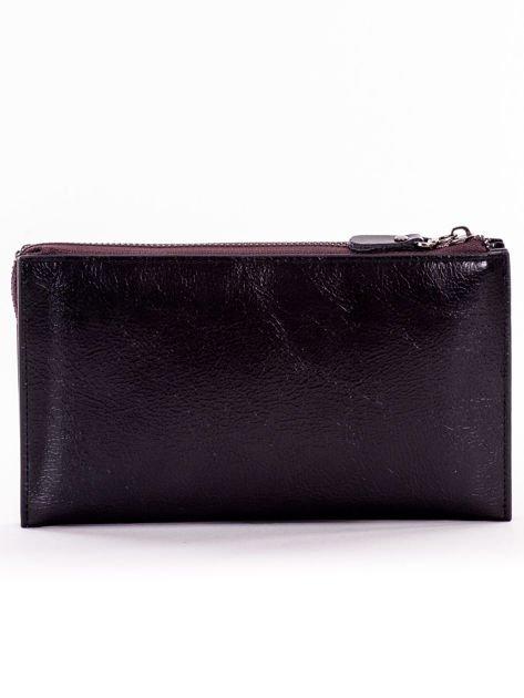 Czarny długi portfel kopertówka na zamek                              zdj.                              2