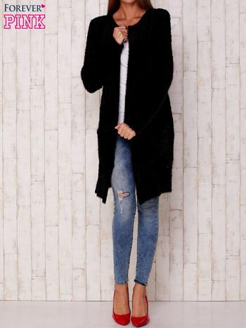 Czarny długi włochaty sweter                                   zdj.                                  2