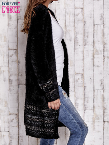 Czarny długi włochaty sweter z kolorową nitką                                  zdj.                                  3