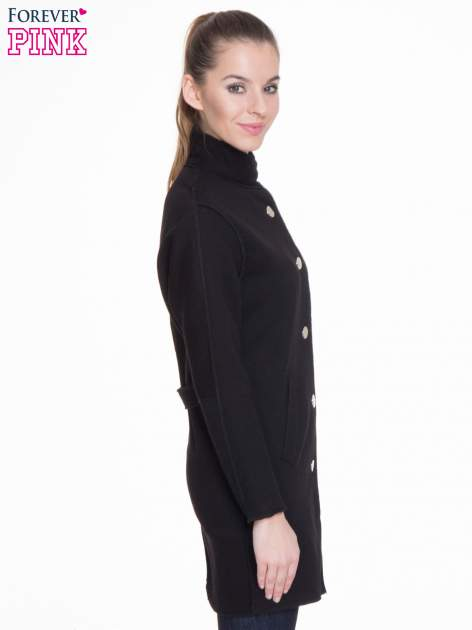 Czarny dresowy płaszcz o kroju oversize                                  zdj.                                  3