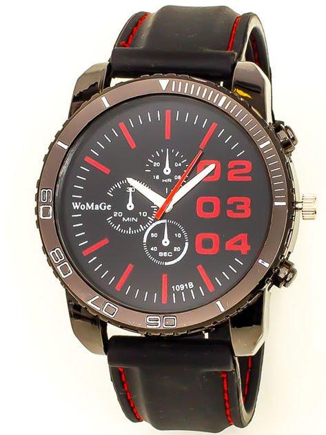 Czarny duży zegarek męski na silikonowym wygodnym pasku z czerwonymi wstawkami                              zdj.                              1
