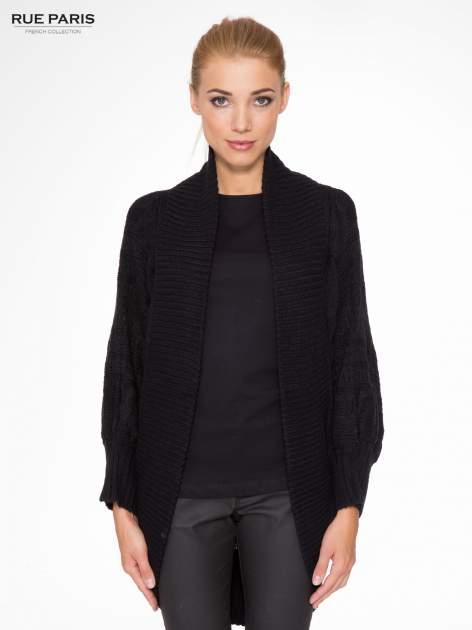 Czarny dziergany sweter typu otwarty kardigan                                  zdj.                                  1