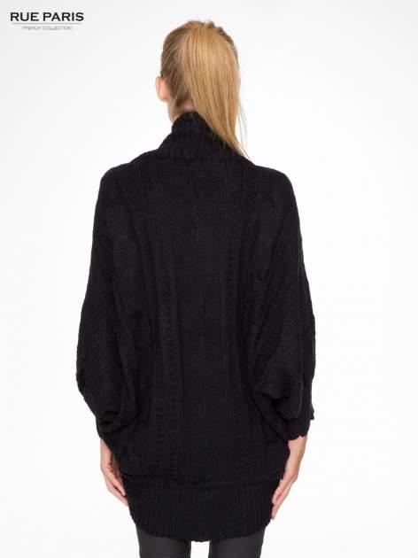 Czarny dziergany sweter typu otwarty kardigan                                  zdj.                                  4