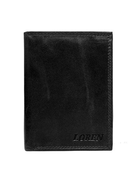 Czarny gładki skórzany portfel dla mężczyzny                              zdj.                              1