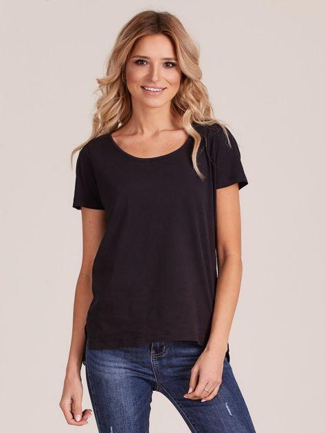 Czarny gładki t-shirt damski                              zdj.                              1