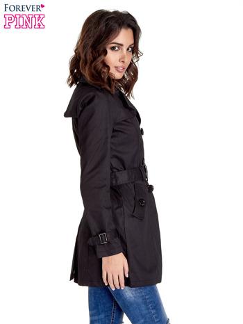 Czarny klasyczny płaszcz typu trencz                                  zdj.                                  4