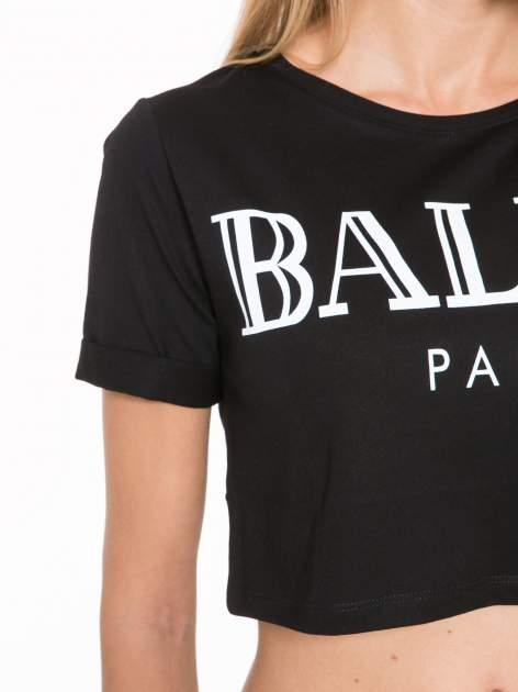 Czarny krótki t-shirt przed pępek z napisem BALLIN PARIS                                  zdj.                                  7