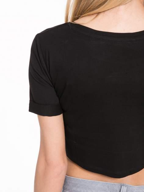 Czarny krótki t-shirt przed pępek z napisem BALLIN PARIS                                  zdj.                                  8