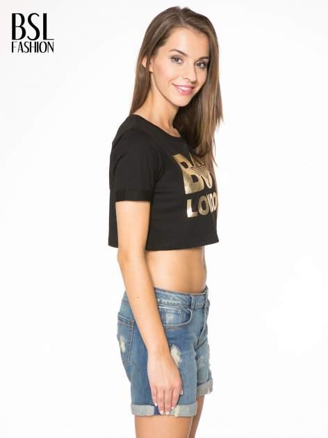 Czarny krótki t-shirt przed pępek z napisem BOY LONDON                                  zdj.                                  3