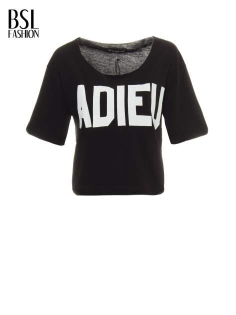 Czarny krótki t-shirt z napisem ADIEU                                  zdj.                                  2
