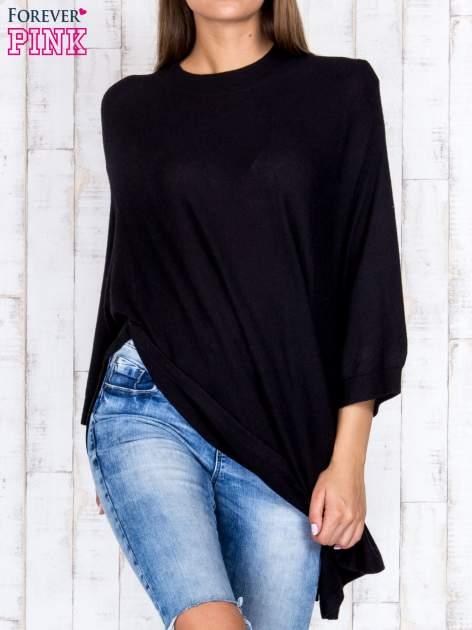 Czarny luźny sweter oversize z bocznymi rozcięciami                                  zdj.                                  1