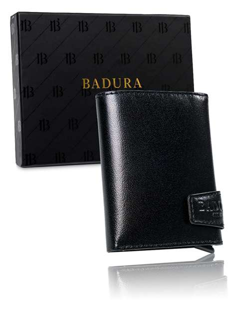 Czarny mały portfel męski ze skóry BADURA