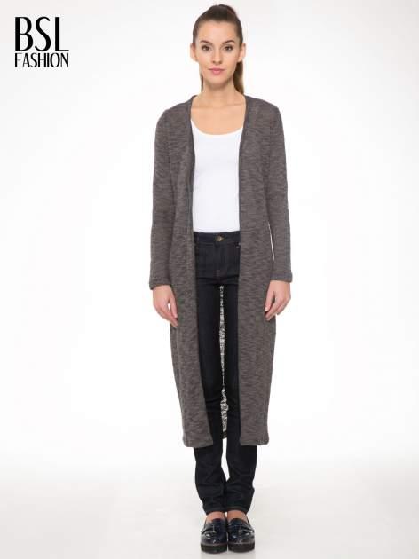 Czarny melanżowy sweter typu długi kardigan                                  zdj.                                  1